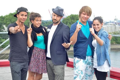 X Factor 2011 Die Kandidaten der Kategorie 16-24 Jahre Kassim Auale, Monique Simon, Juror DAS BO, Martin Madeja, Raffaela Wais (c) VOX / Stephan Dorsch